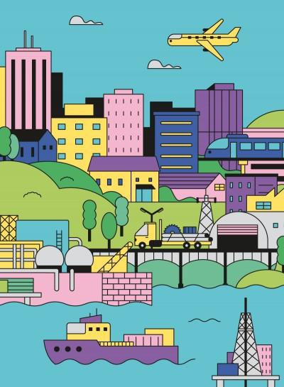 La filiera energia - Illustrazione di Nico189